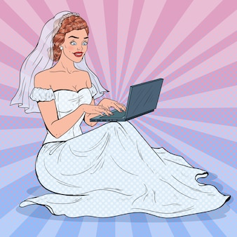 Noiva de pop art com laptop. mulher feliz em vestido de casamento, compras online.