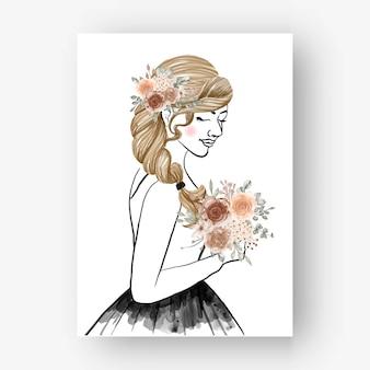 Noiva desenhada a mão com ilustração em aquarela de flores de buquê