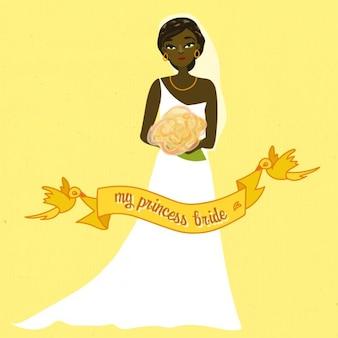 Noiva do casamento com fundo amarelo da fita