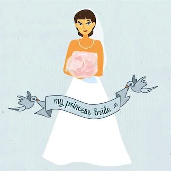 Noiva do casamento com fundo azul fita