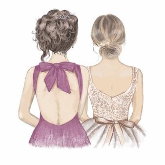 Noiva e dama de honra em vestidos extravagantes, lado a lado. mão ilustrações desenhadas.