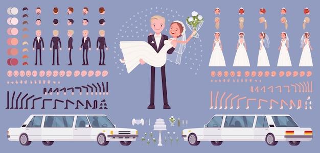 Noiva e noivo, casal jovem feliz em cerimônia de casamento, conjunto de criação, kit de celebração tradicional