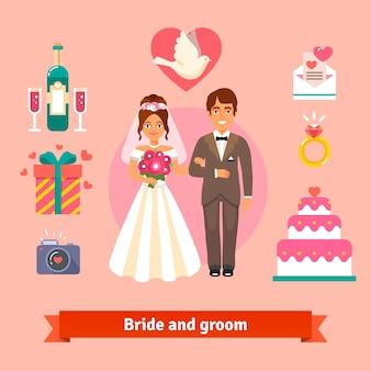 Noiva e noivo com conjunto de ícones de casamento