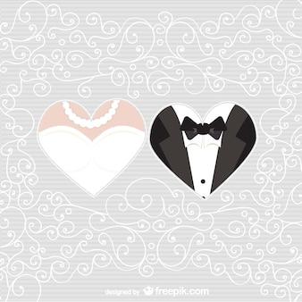 Noiva e noivo corações