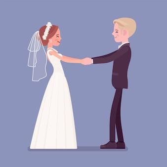 Noiva e noivo dançando pela primeira vez na cerimônia de casamento