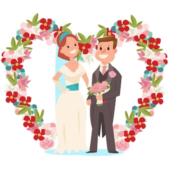 Noiva e noivo e um arco de casamento com flores. ilustração de desenho vetorial de um casal de noivos com um buquê de noiva isolado