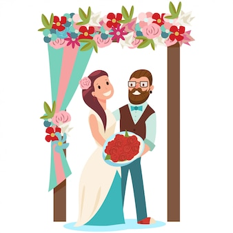 Noiva e noivo e um arco de casamento com flores. ilustração dos desenhos animados de um casal de noivos com um buquê de noiva isolado no branco.