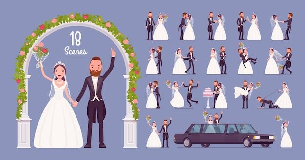 Noiva e noivo no conjunto de caracteres para cerimônia de casamento