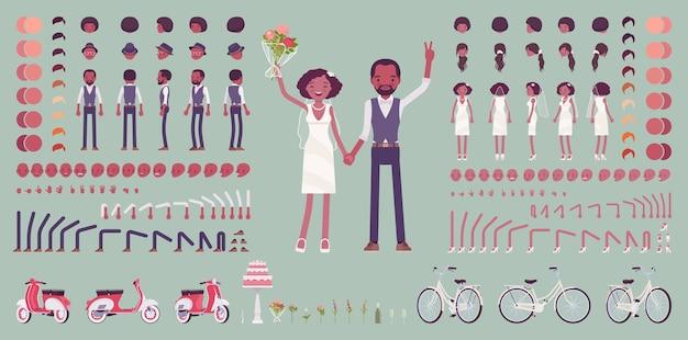 Noiva e noivo, par preto feliz em cerimônia de casamento, conjunto de criação, kit de celebração tradicional