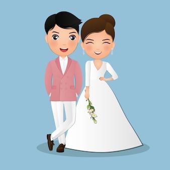 Noiva e noivo personagem de desenho animado de casal bonito.