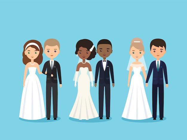 Noiva e noivo. personagens de pessoas planas.