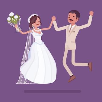 Noiva e noivo pulando na cerimônia de casamento