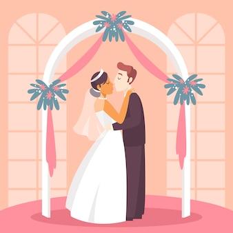 Noiva e noivo se casando