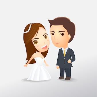 Noiva e o convite de desenhos animados de casamento do noivo