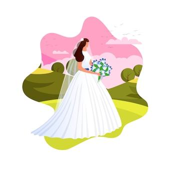 Noiva elegante, preparando-se para a cerimônia de casamento.