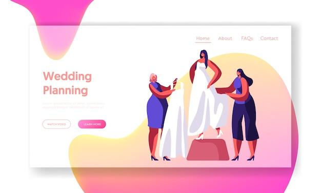Noiva experimente a página inicial do vestido de casamento de teste branco. preparação para a cerimônia de casamento. mulher ajuda a selecionar vestido de moda. site ou página da web tradicional de compras de noivas. ilustração em vetor plana dos desenhos animados