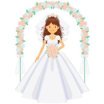 Noiva linda sob o arco nupcial