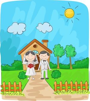 Noiva noivo, em, frente, de, casa pequena