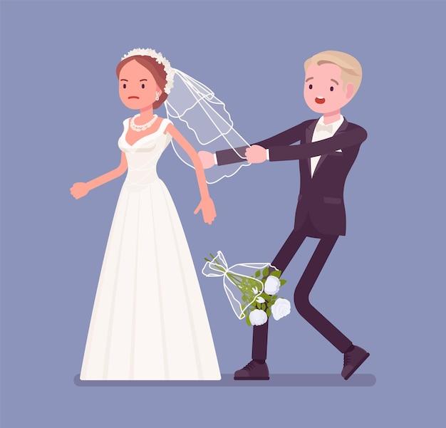 Noiva zangada deixando o noivo na cerimônia de casamento
