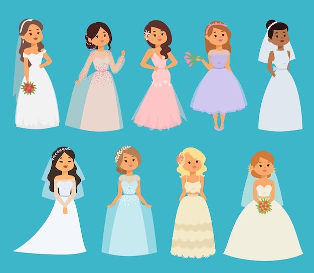 Noivas de casamento menina personagens vestido branco ilustração celebração moda mulher cartoon menina
