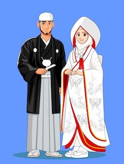 Noivas japonesas muçulmanas com roupas tradicionais.