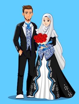 Noivas muçulmanas em roupas pretas e prateadas.