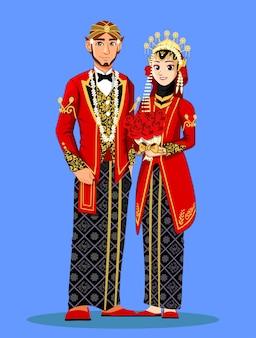 Noivas muçulmanas javanesas em roupas tradicionais vermelhas.