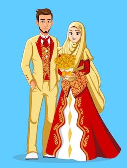Noivas muçulmanas nacionais em roupas vermelhas e douradas.