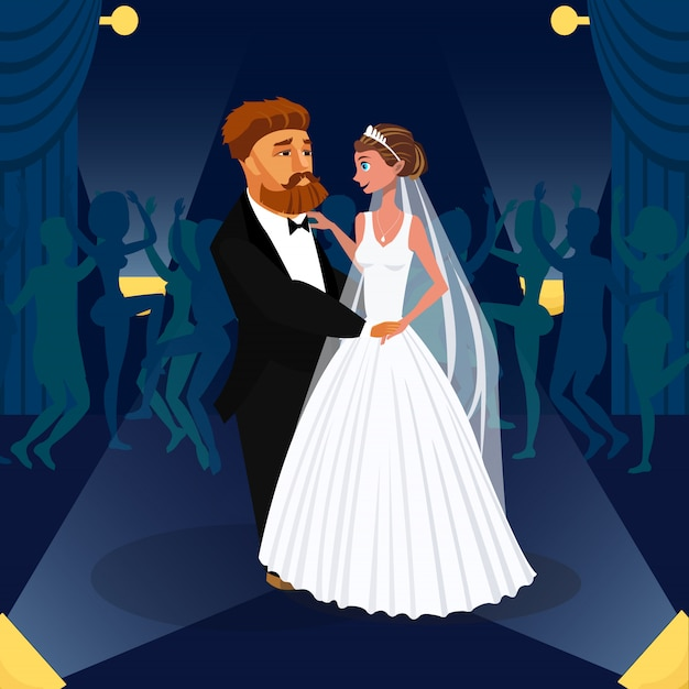 Noivo e noiva abraçando