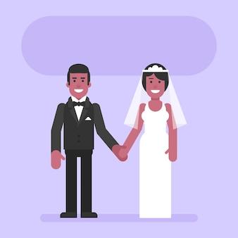 Noivo e noiva afro-americanos de mãos dadas e sorriem. pessoas planas. ilustração vetorial
