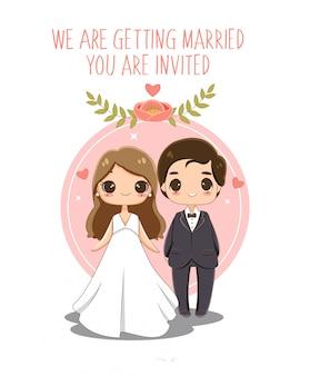 Noivo e noiva bonito no cartão de convites de casamento