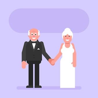 Noivo e noiva idosos dão as mãos e sorriem. pessoas planas. ilustração vetorial