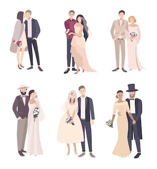 Noivo e noiva lindo e elegante casal de noivos. conjunto de ilustração de desenho vetorial, isolado no fundo branco.