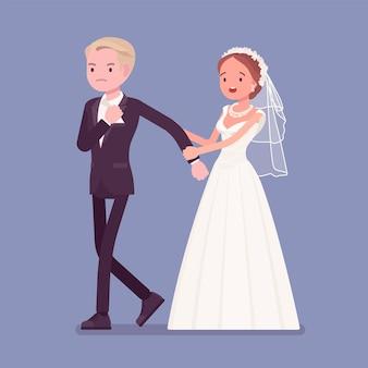 Noivo zangado a abandonar a noiva na cerimónia de casamento