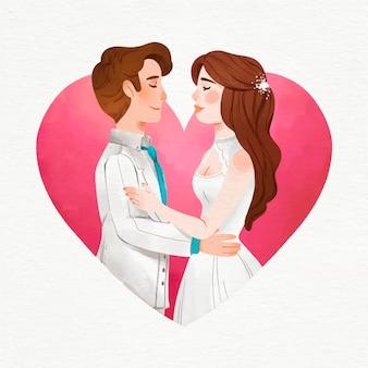 Noivos em aquarela casamento