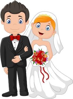 Noivos felizes da cerimónia de casamento. ilustração vetorial