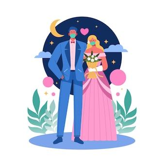 Noivos normais novos do casamento que usam máscaras