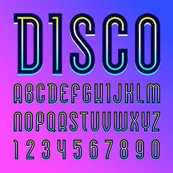 Nome da fonte disco. alfabeto na moda, conjunto de letras
