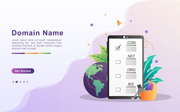 Nome de domínio e conceito de registro. registrar um domínio de site, escolha o domínio correto.