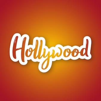Nome de letras desenhadas à mão de hollywood