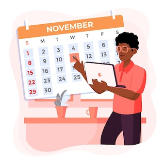 Nomeação reserva com calendário e homem segurando laptop