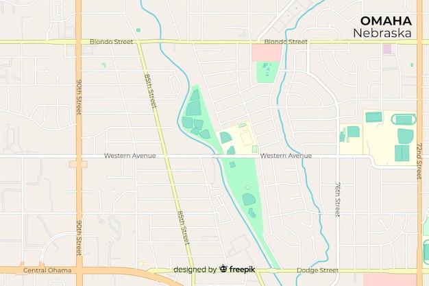 Nomes de ruas direcionais no mapa da cidade