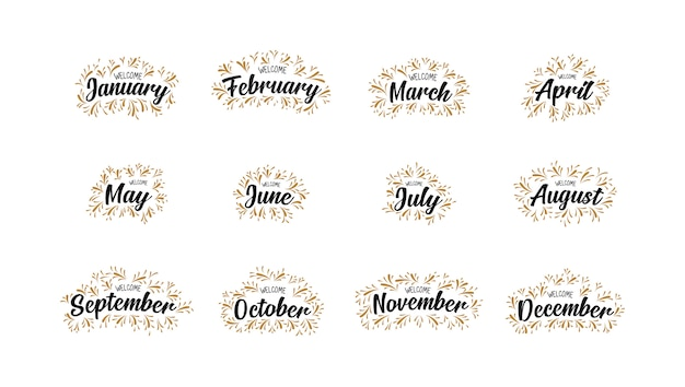 Nomes manuscritos de meses de boas vindas com letras