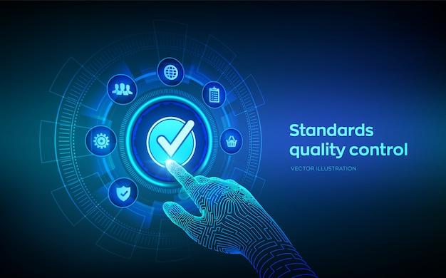 Normas iso controle de qualidade garantia conceito de tecnologia de negócios.