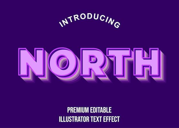 Norte - fonte de efeito de texto roxo 3d estilo