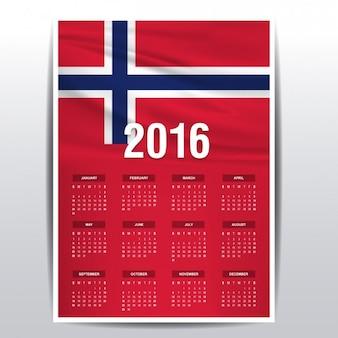Noruega calendário de 2016