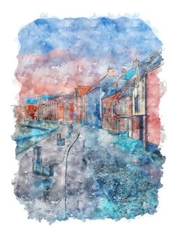 Noruega casas desenho em aquarela cityspace aquarela cartaz de cidade