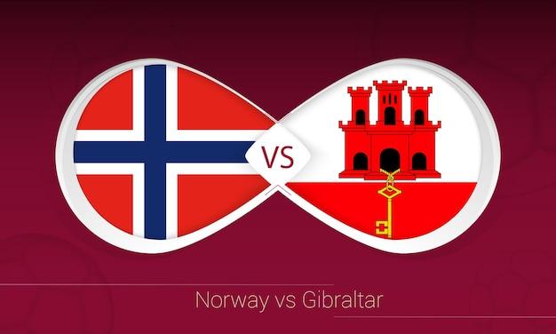 Noruega vs gibraltar em competição de futebol, ícone do grupo g. versus no fundo do futebol.