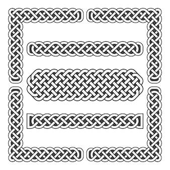 Nós celtas vector fronteiras medievais e elementos de canto