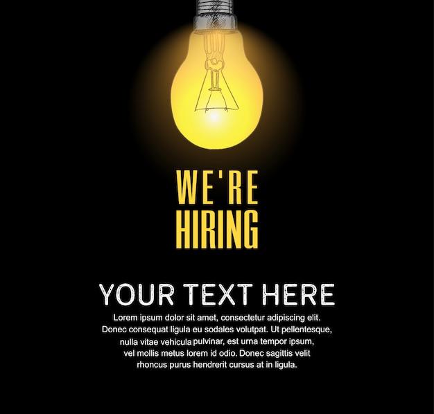 Nós estamos contratando cartaz conceito com ilustração de lâmpada de luz